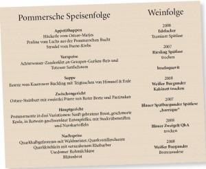 die original pommersche Speisefolge