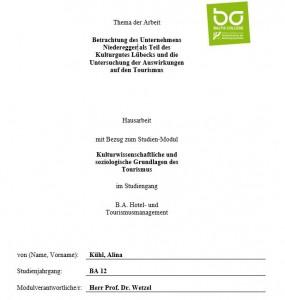 Hausarbeit zum Unternehmen Niederegger von Alina Kühl