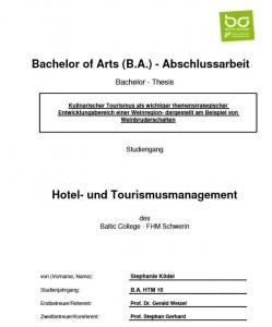 BA-Thesis von Stephanie Ködel, Absolventin des Baltic College - FHM Schwerin