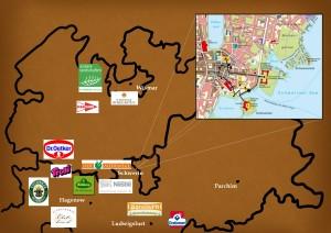Landkarte zur kulinarischen Stadtführung durch Schwerin (eigene Darstellund von Maren Zeckert)